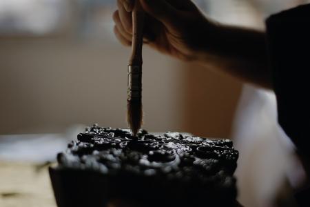 bloxk print traditionnel lucile drouet loxiale indiennes impression ecologique organic print